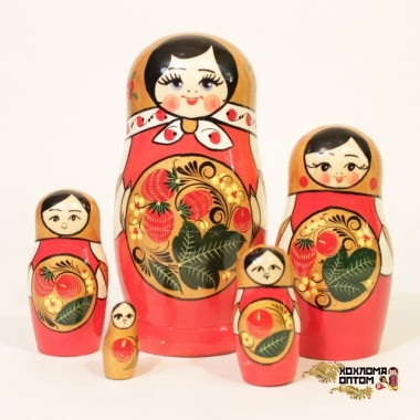 "Matryoshka ""Khokhloma Berry"" (5 dolls)"