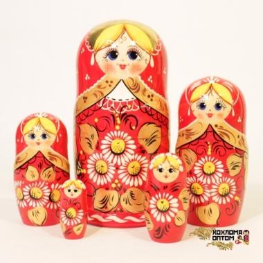 """Матрешка """"Ромашка красная"""" 5 кукольная"""