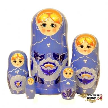 """Матрешка """"Гжель синяя"""" 5 кукольная"""