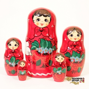 """Матрешка """"Вятка клубничка"""" 5 кукольная"""