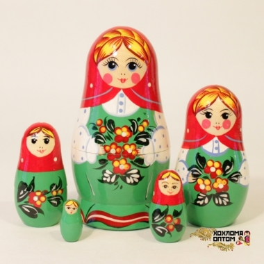 "Matryoshka ""Forget-me-not Red Shawl"" (5 dolls)"