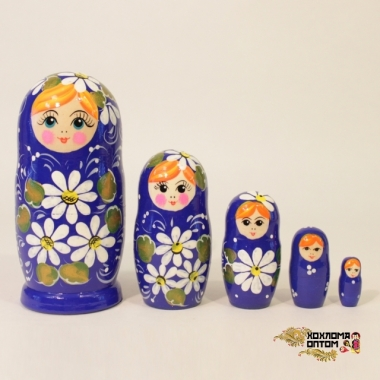 "Matryoshka ""Camomile Blue"" (5 dolls)"