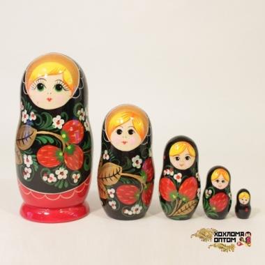"""Matryoshka """"Khokhloma Vyatka"""" (5 dolls)"""