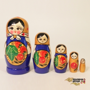 "Matryoshka ""Khokhloma Red/blue"" (5 dolls)"