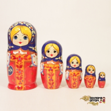 "Matryoshka ""Red dress"" (5 dolls)"