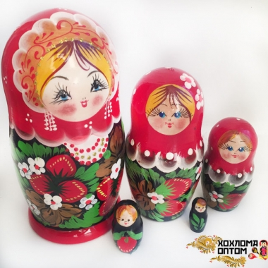 "Matryoshka ""Khokhloma Srawberry"" (5 dolls)"
