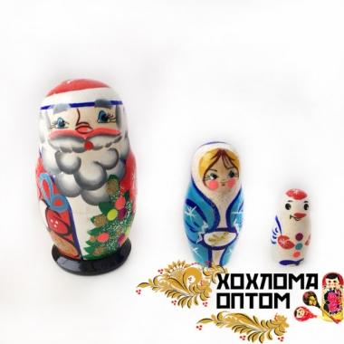 """Матрешка новогодняя """"Дед мороз"""" 3 кукольная"""