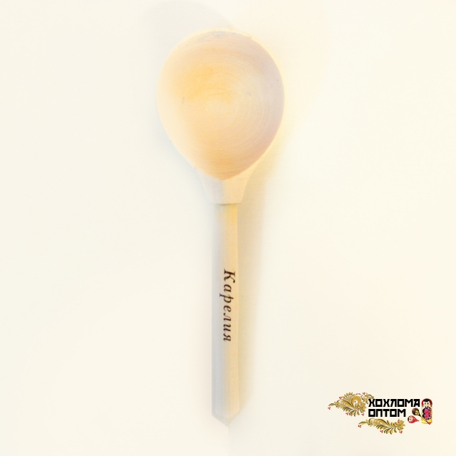Wooden teaspoon with logo on a handle