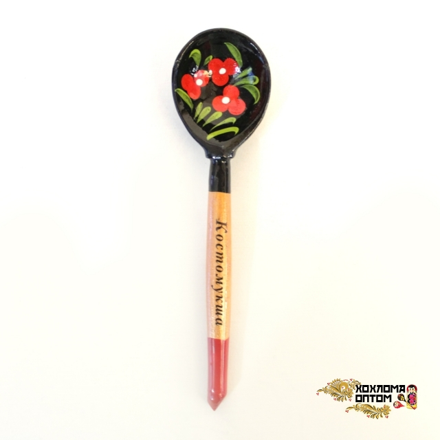 Wooden tablespoon with painting and logo