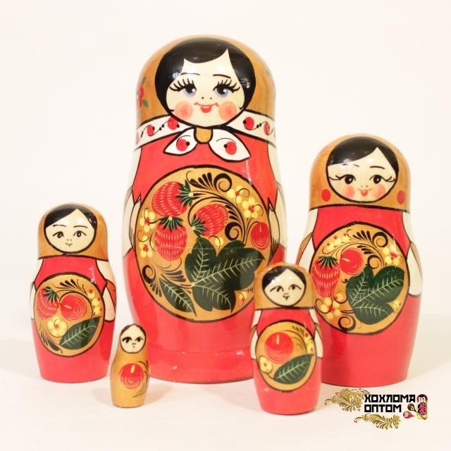 "Матрешка ""Хохлома ягодка"" 5 кукольная"