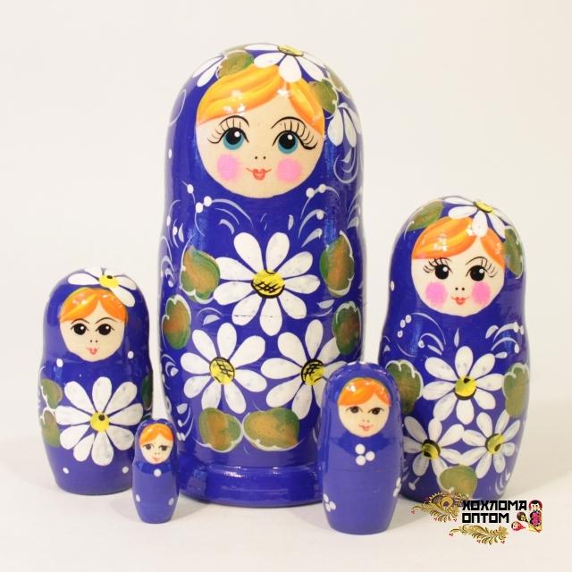 "Matryoshka ""Camomile Blue"" (5 dolls)"
