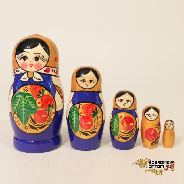"""Matryoshka """"Khokhloma Red/blue"""" (5 dolls)"""