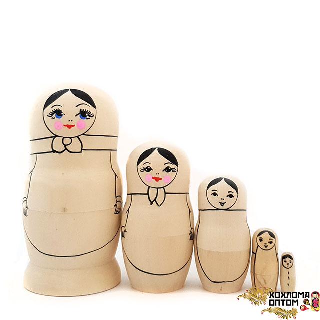 Matryoshka coloring without painting  (5 dolls)