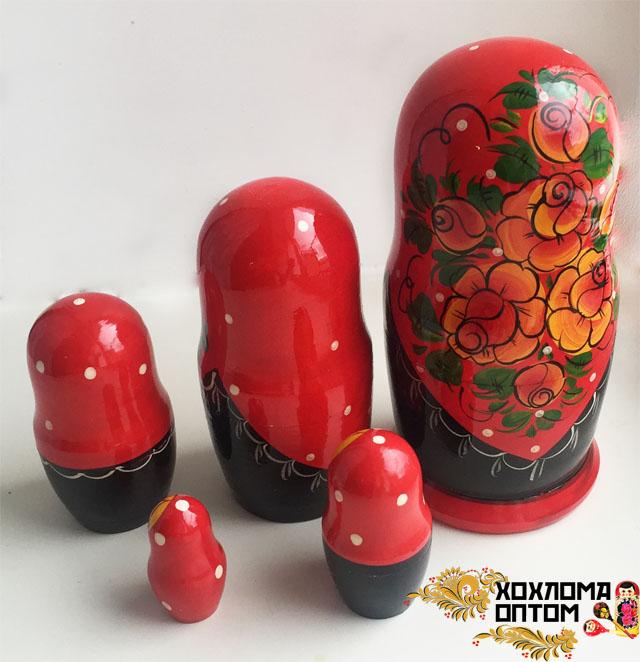 """Matryoshka """"Vyatka Red"""" (5 dolls)"""