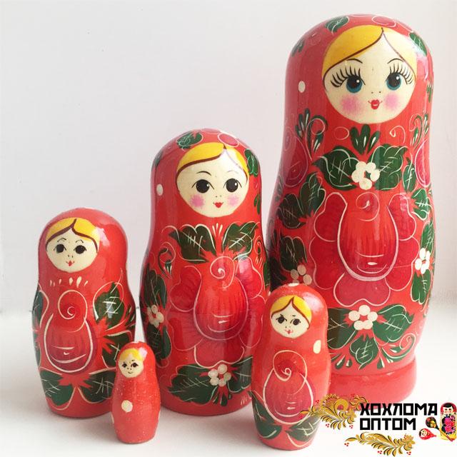 """Matryoshka """"Vyatka Average Red"""" (5 dolls)"""
