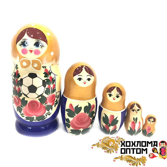 """Матрешка """"Семёновский футбол"""" 5 кукольная средняя"""