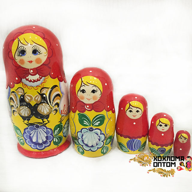 """Matryoshka """"Gorodets"""" (5 dolls)"""