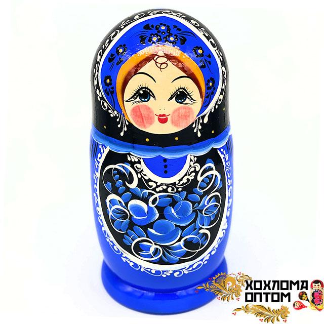 """Matryoshka """"Gzhel black"""" (5 dolls big)"""