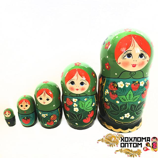"""Matryoshka """"Green Strawberry"""" (5 dolls)"""
