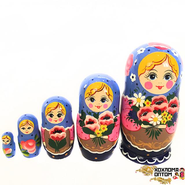 """Matryoshka """"Poppy bouquet"""" (5 dolls)"""