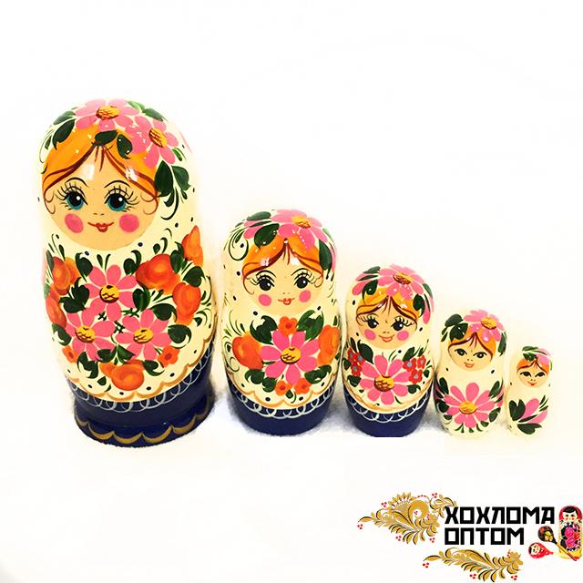 "Matryoshka ""Pink bouquet"" (5 dolls)"