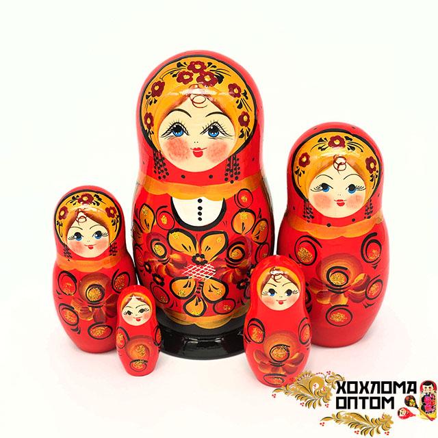 """Матрешка """"Златолистник"""" 5 кукольная большая"""