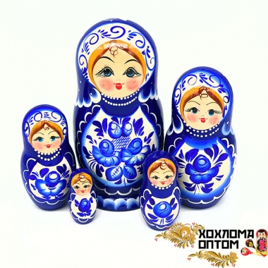 "Матрешка ""Гжельская"" 5 кукольная большая"