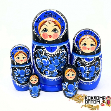 "Матрешка ""Гжель чёрная"" 5 кукольная большая"