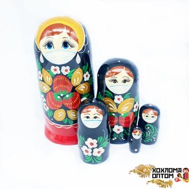 """Матрешка """"Хохлома Вятка в маске от COVID-19"""" 5 кукольная"""