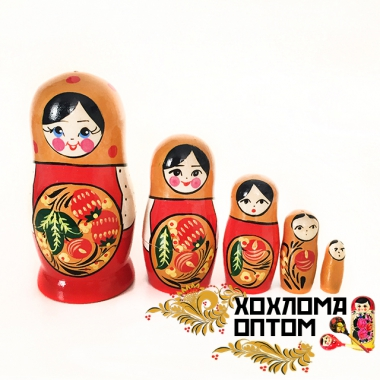 "Матрешка ""Хохлома синяя/красная"" 5 кукольная"