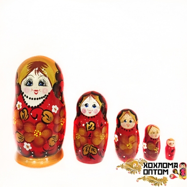 """Матрешка """"Красный букет"""" 5 кукольная"""