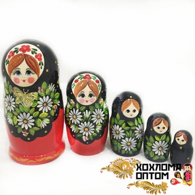"Matryoshka ""Camomile with butterfly"" (5 dolls)"