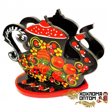 "Napkin holder ""Khokhloma Kettle"""