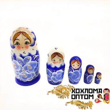 """Матрешка """"Синий букет"""" 5 кукольная"""