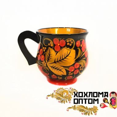 """Кружка с хохломской росписью """"Соковая"""""""