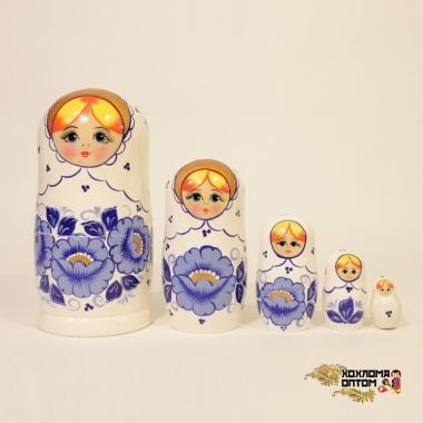 """Матрешка """"Гжель белая"""" 5 кукольная"""