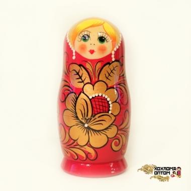 """Matryoshka """"Khokhloma Red"""" (5 dolls)"""