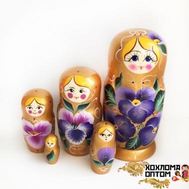"""Матрешка """"Цветы-золото"""" 5 кукольная"""