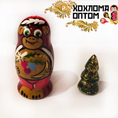 """Матрешка новогодняя """"Обезьянка с ёлочкой"""" 2 кукольная"""