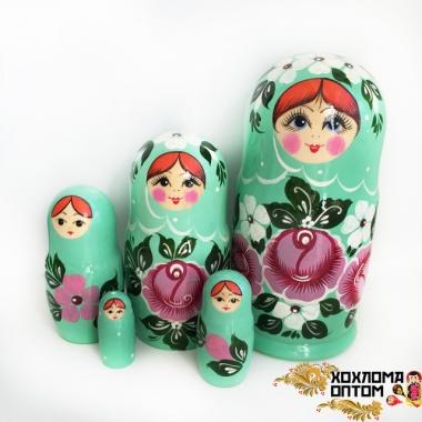 """Матрешка """"Бирюзовая"""" 5 кукольная"""