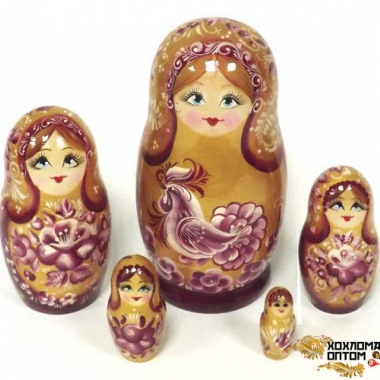 "Matryoshka ""Golden cock"" (5 dolls)"