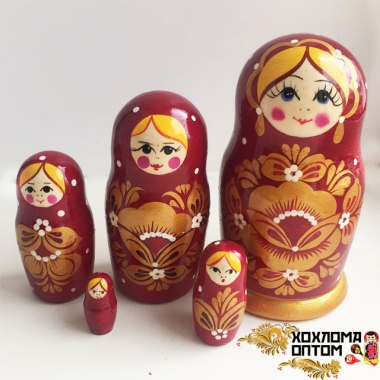 """Matryoshka """"Golden Flower"""" burgundy (5 dolls)"""