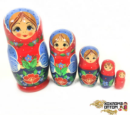"Matryoshka ""Red flower"" (5 dolls)"