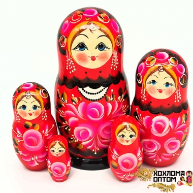 "Matryoshka ""Bouquet of roses"" (5 dolls big)"