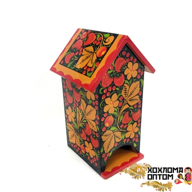 "Stand for tea bags ""House"" with Khokhloma painting"