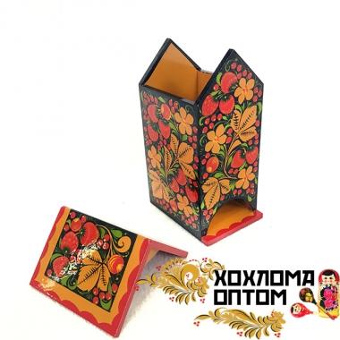 """Подставка под чайные пакетики """"Домик"""" с хохломской росписью"""