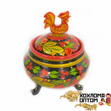 "Sugar bowl ""Cockerel"" on the legs Khokhloma"