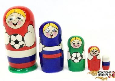 """Матрешка """"Футбол"""" 5 кукольная большая"""