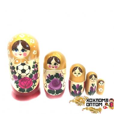 """Матрешка """"Семёновский футбол"""" 5 кукольная большая"""