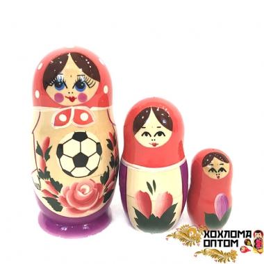"""Матрешка """"Семёновский футбол"""" 3 кукольная"""